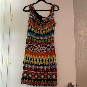 Calvin Klein one shoulder tribal pattern dress 8